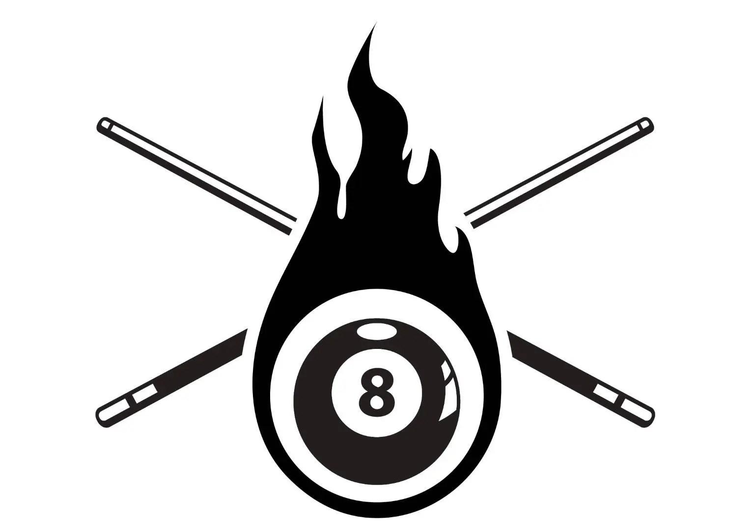 Billiards Pool Logo 1 Eight 8 Nine 9 Ball Stick Cue Sports