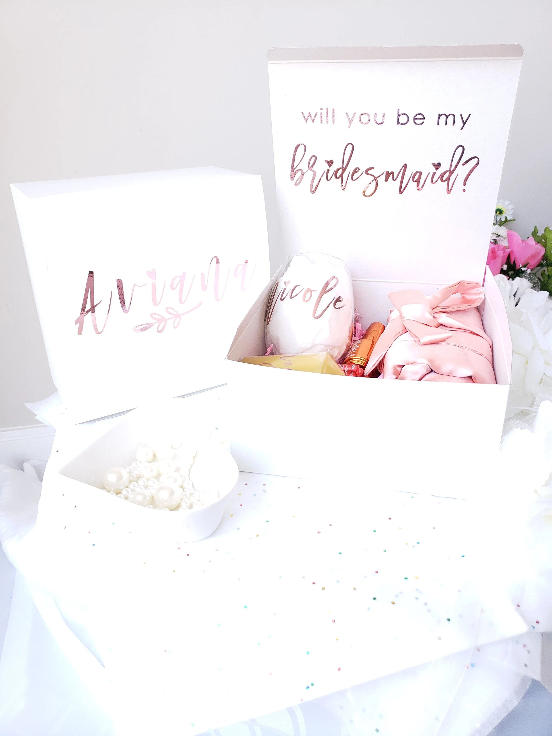 bridesmaid proposal / bridesmaid proposal box / bridesmaid Name + Role Both
