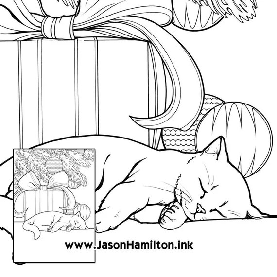 Sleeping Kitten Coloring Page Pdf Instant Download Coloring Etsy