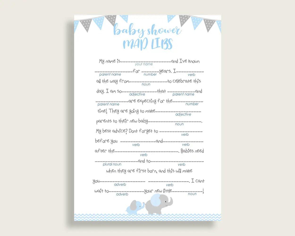 Blue Grey Mad Libs Baby Shower Boy Game Printable Elephant