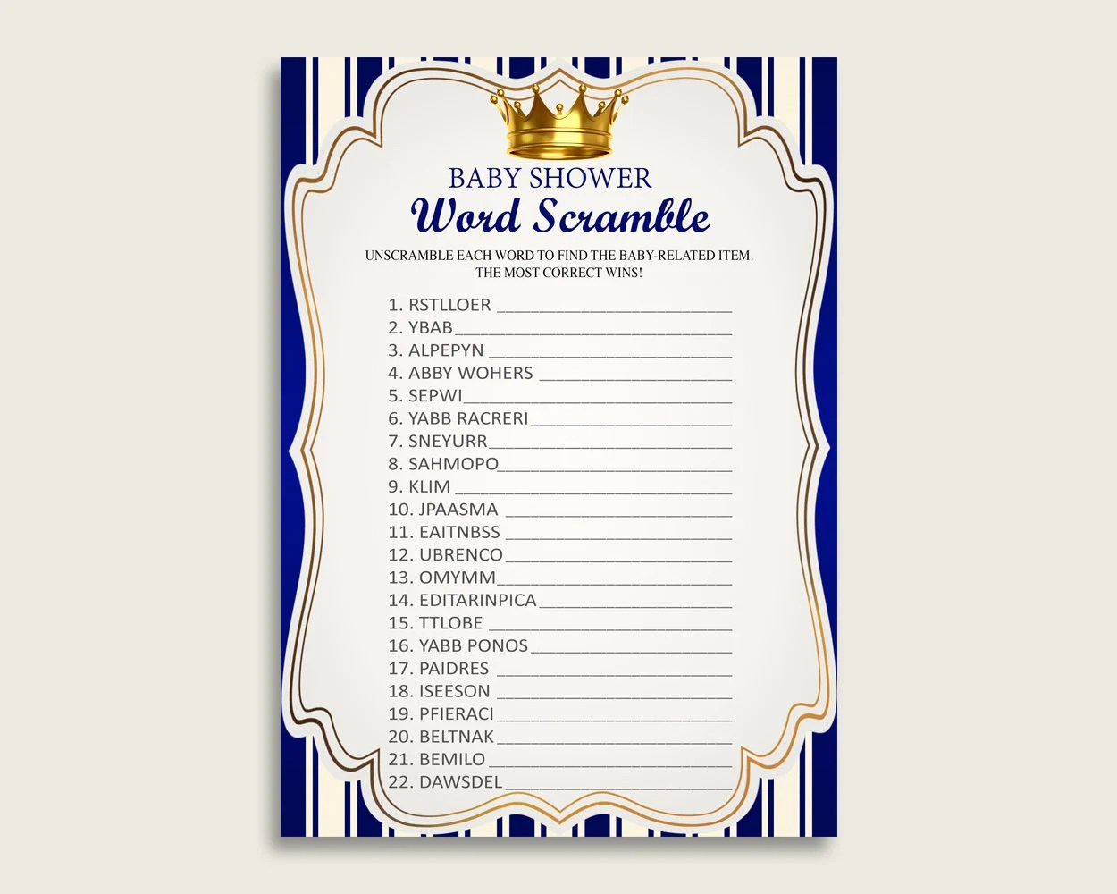 Boy Baby Shower Word Scramble Game Printable Cute Royal