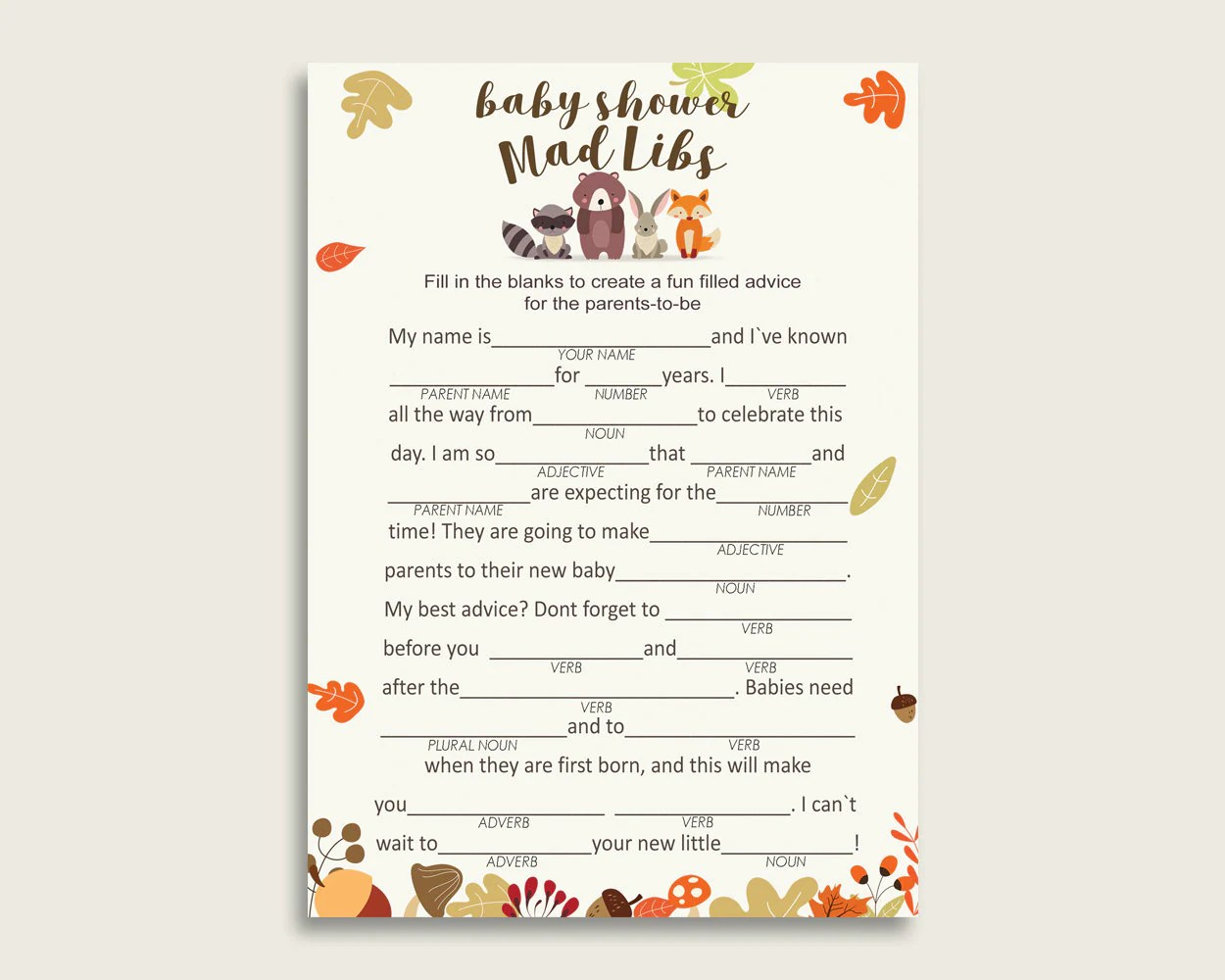 Brown Beige Mad Libs Baby Shower Gender Neutral Game
