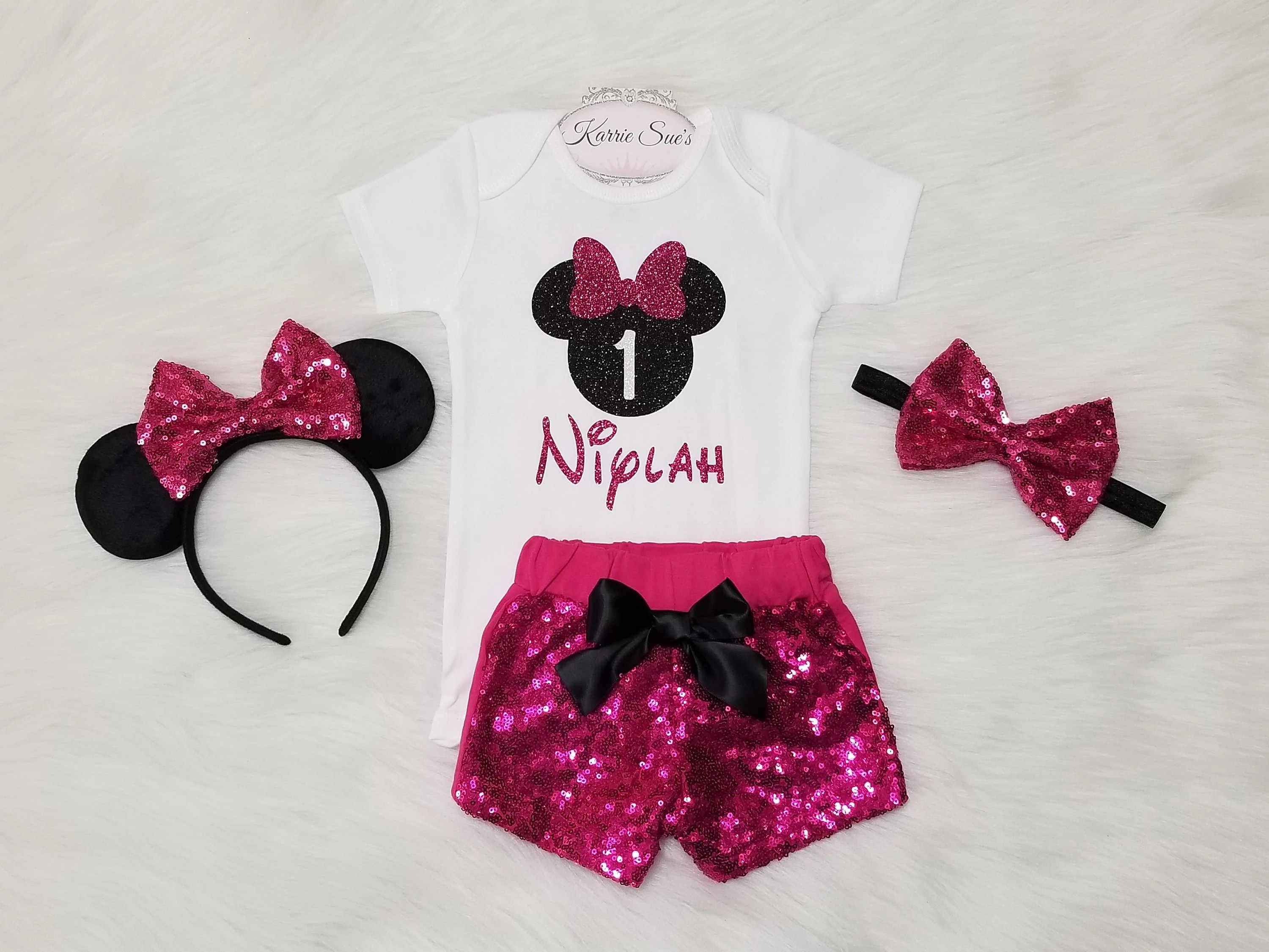 Minnie Mouse 1st Birthday Outfit Hot Pink Black Disney Etsy