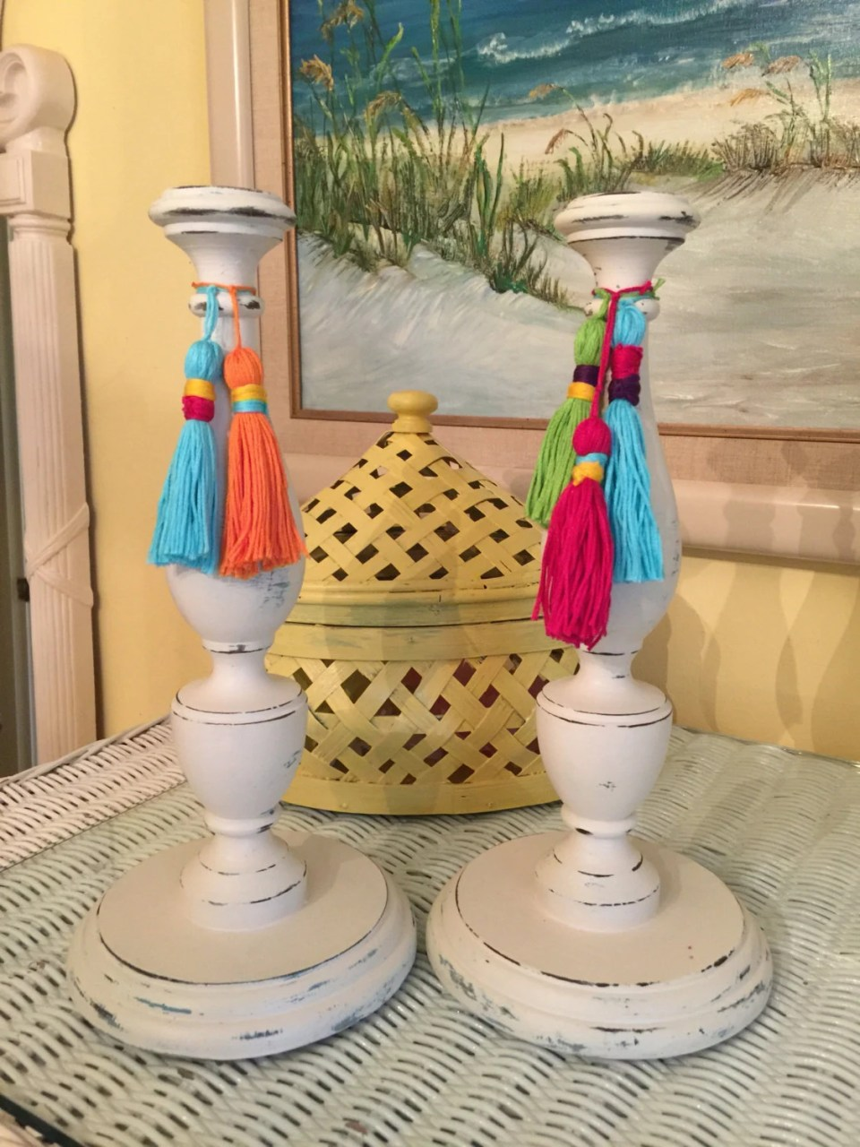 Hand painted candle sticks with handmade tassels