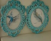 Set of 2 hand painted framed wall decor