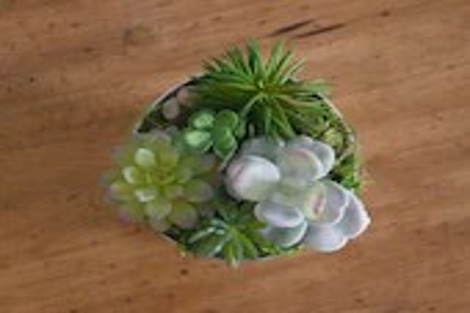 Artificial Succulent Arrangement in silver bucket
