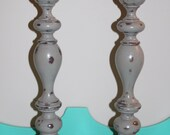 Set of wooden hand painted candle sticks