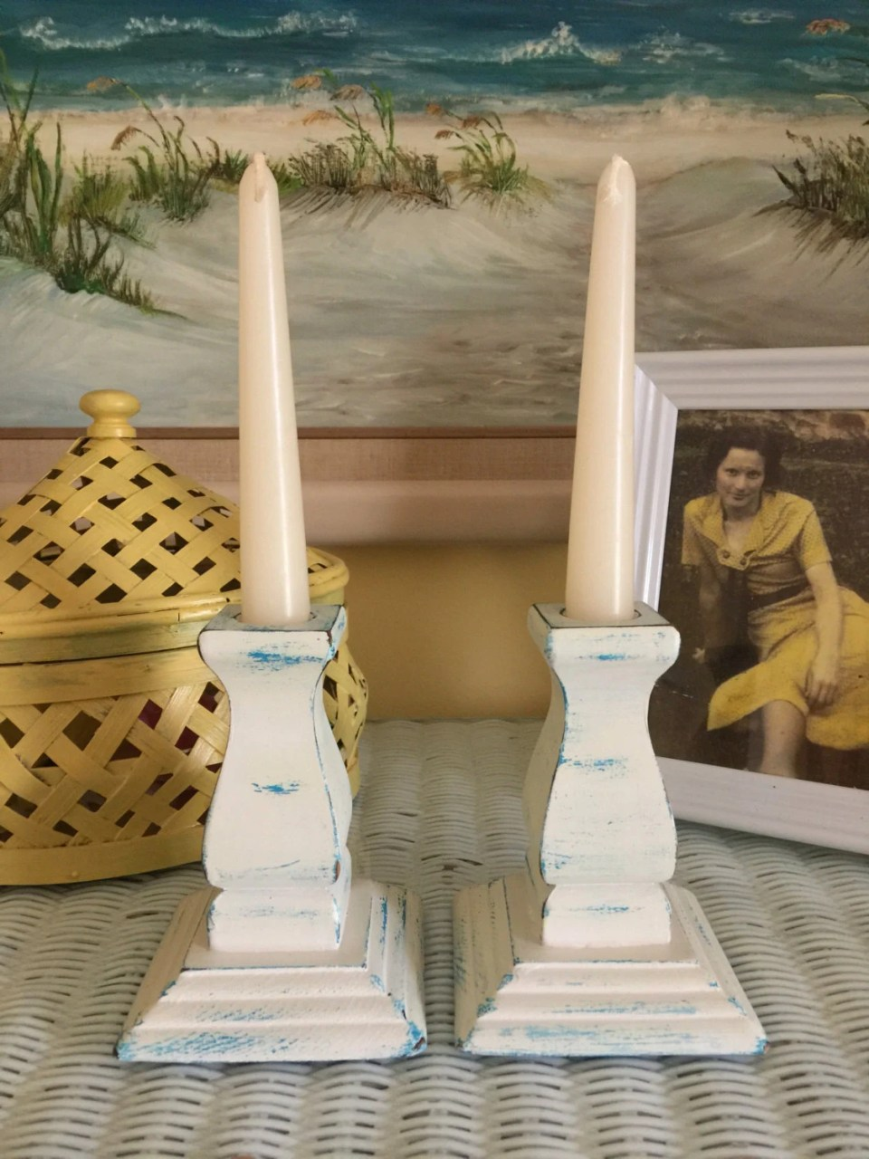 Set of hand painted wooden candle sticks