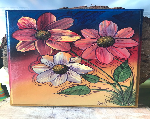 Acrylic flowers on plaque