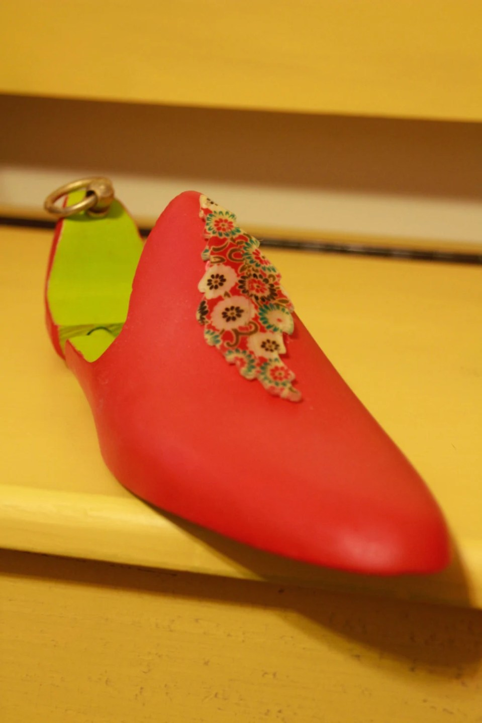 Hand painted wooden shoe form