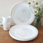 Corelle Peach Floral Corelle Dinnerware 6 Dinner Plates And 2 Etsy