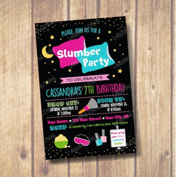 coussin slumber party invitation tween ado anniversaire invitation invitation soiree pyjama de nuit ciel girls night soiree pyjama party