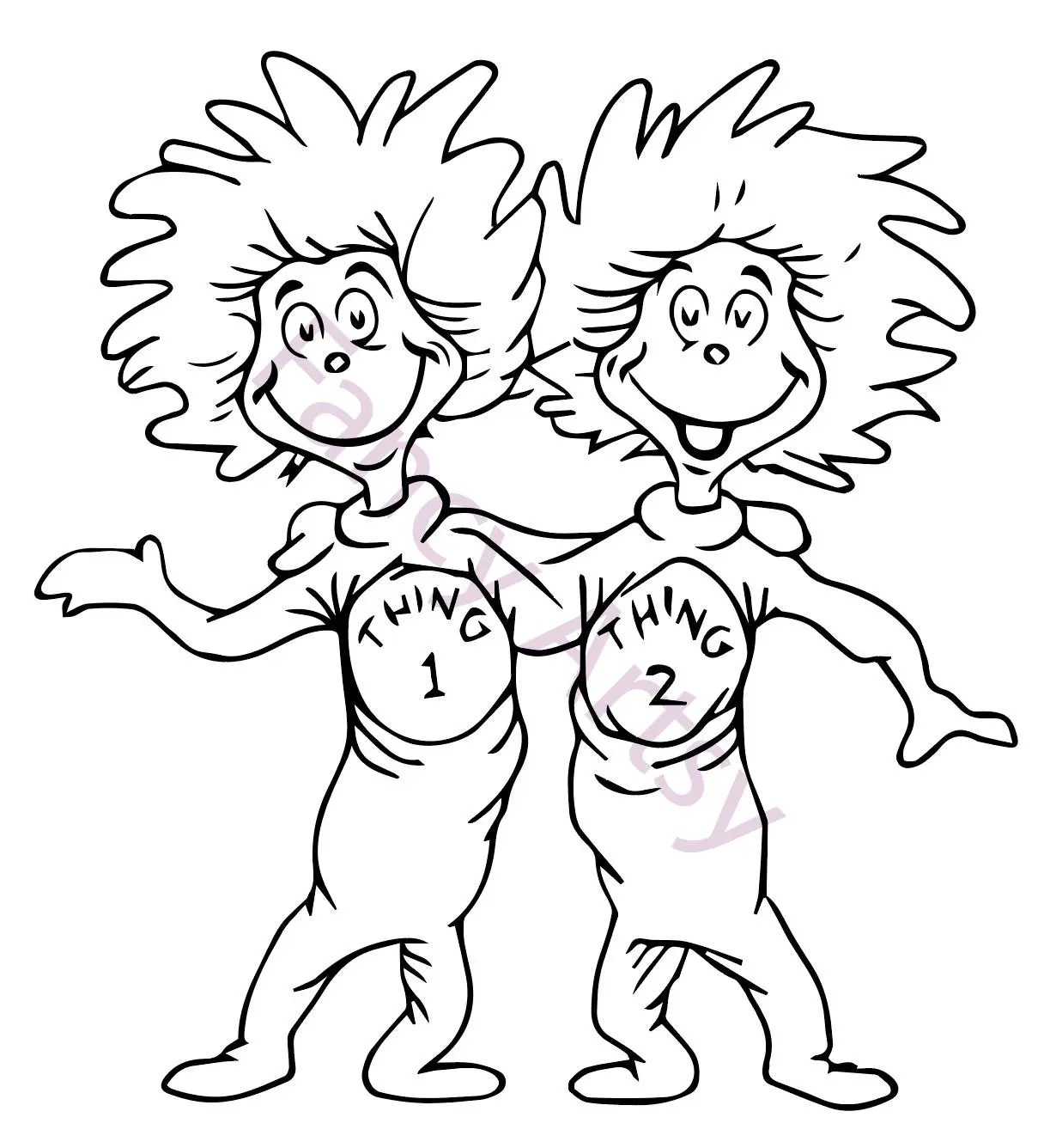 Dr Seuss Thing 1 And Thing 2 Svg File
