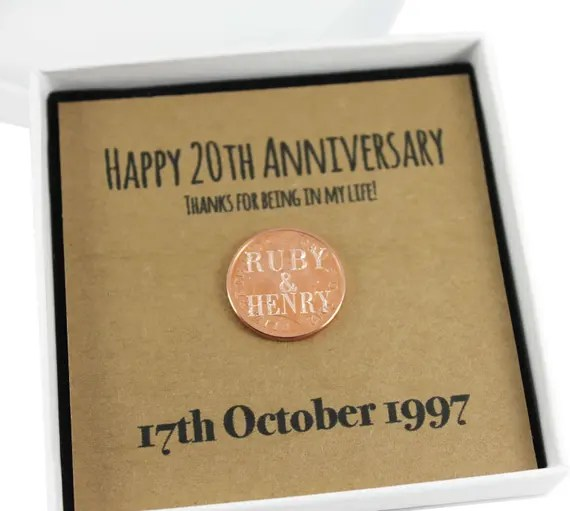 Personalised Happy 20th Anniversary Penny