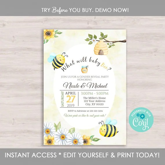 Gender Reveal Invitation Template Bee Gender Reveal Party Invitation Bumble Bee Gender Reveal Invitation What Will It Bee Editable