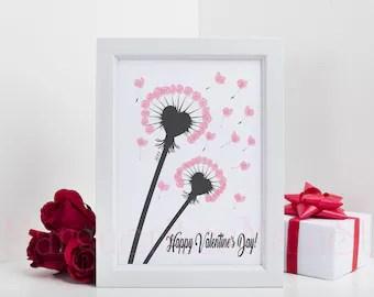 Diy Lowenzahn Fingerabdruck Kunst Valentinstag Geschenk Etsy