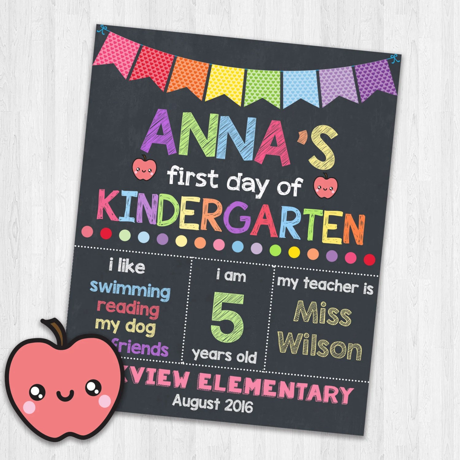 First Day Of Kindergarten Printable Signs Back To School