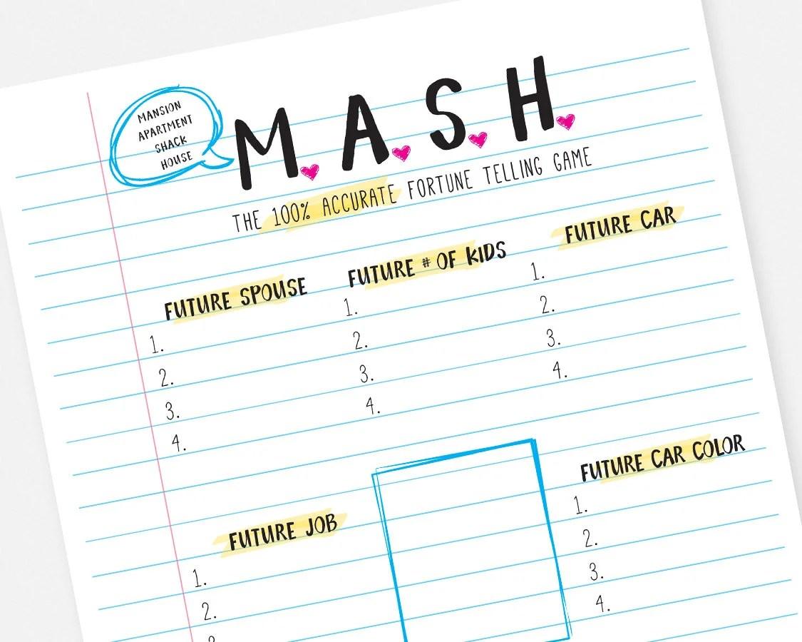 Mash Printable Party Game Instant Download Bridal Shower