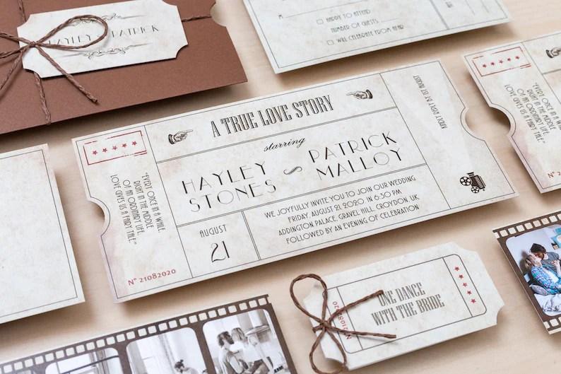 Filmkaart trouwuitnodigingen