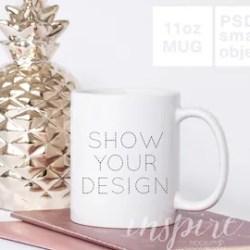 11oz Coffee Mug With Pink Handle Mockup Psd Smart Object Etsy