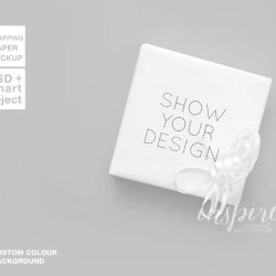 Gift Box Wrapping Paper Mockup Psd Smart Object Layer Etsy