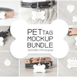 Bone Dog Tag Mockup Bundle Psd Smart Object Nordic Styled Etsy