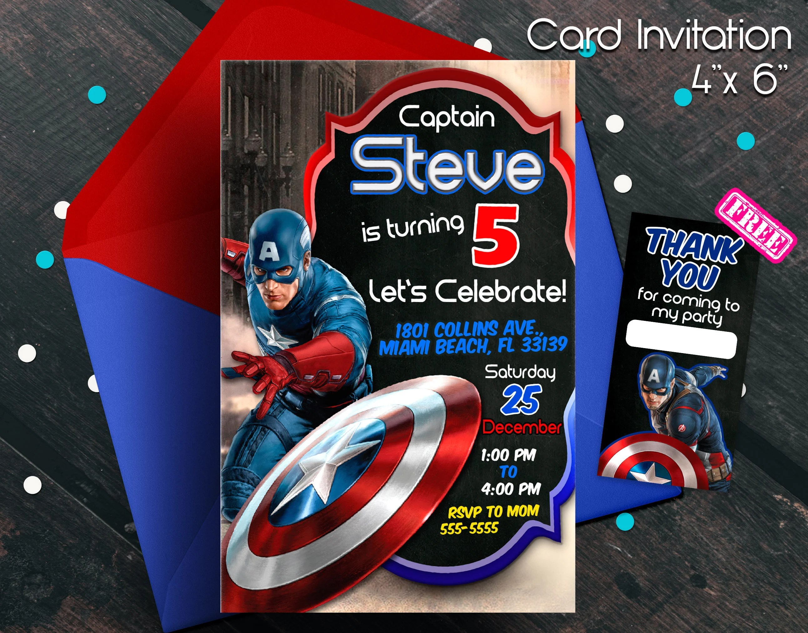 captain america invitation etsy