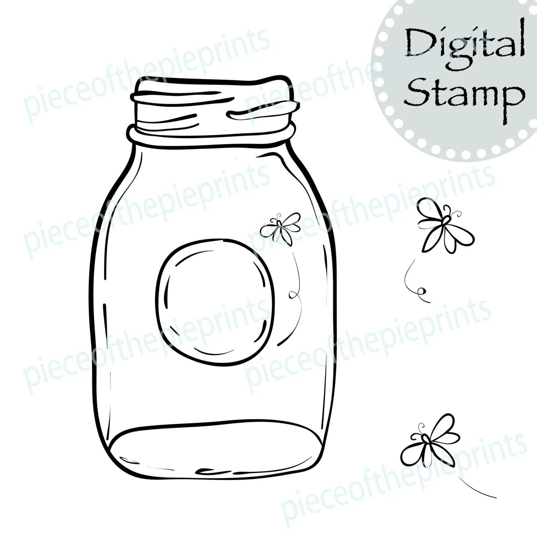 Instant Download Firefly Digital Stamp Clipart Scrapbook