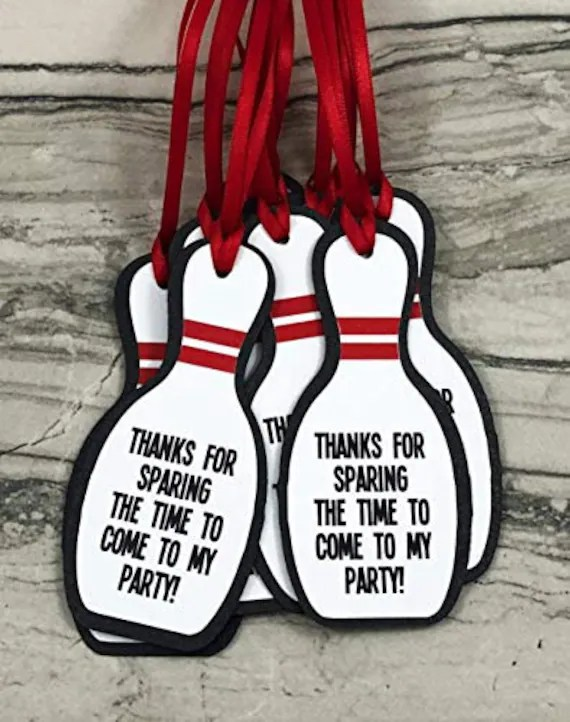 Bowling Pin Party Favor Gift Tags Bowling Birthday Party Etsy