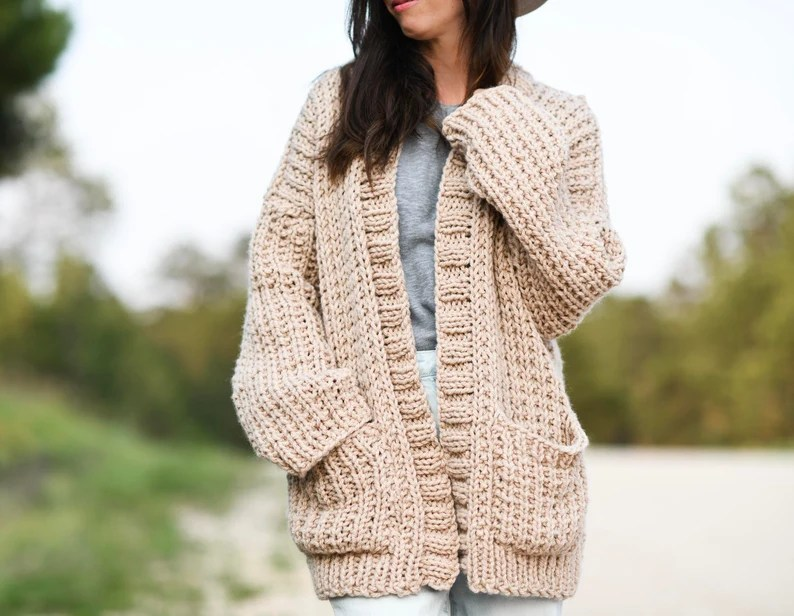 My Big Comfy Ribbed Cardi Knitting Pattern Easy Knit Sweater image 0