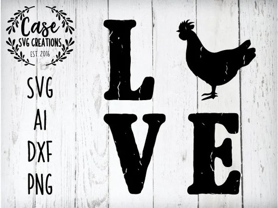 Download Love Chicken SVG Cutting File AI Dxf and Printable PNG ...