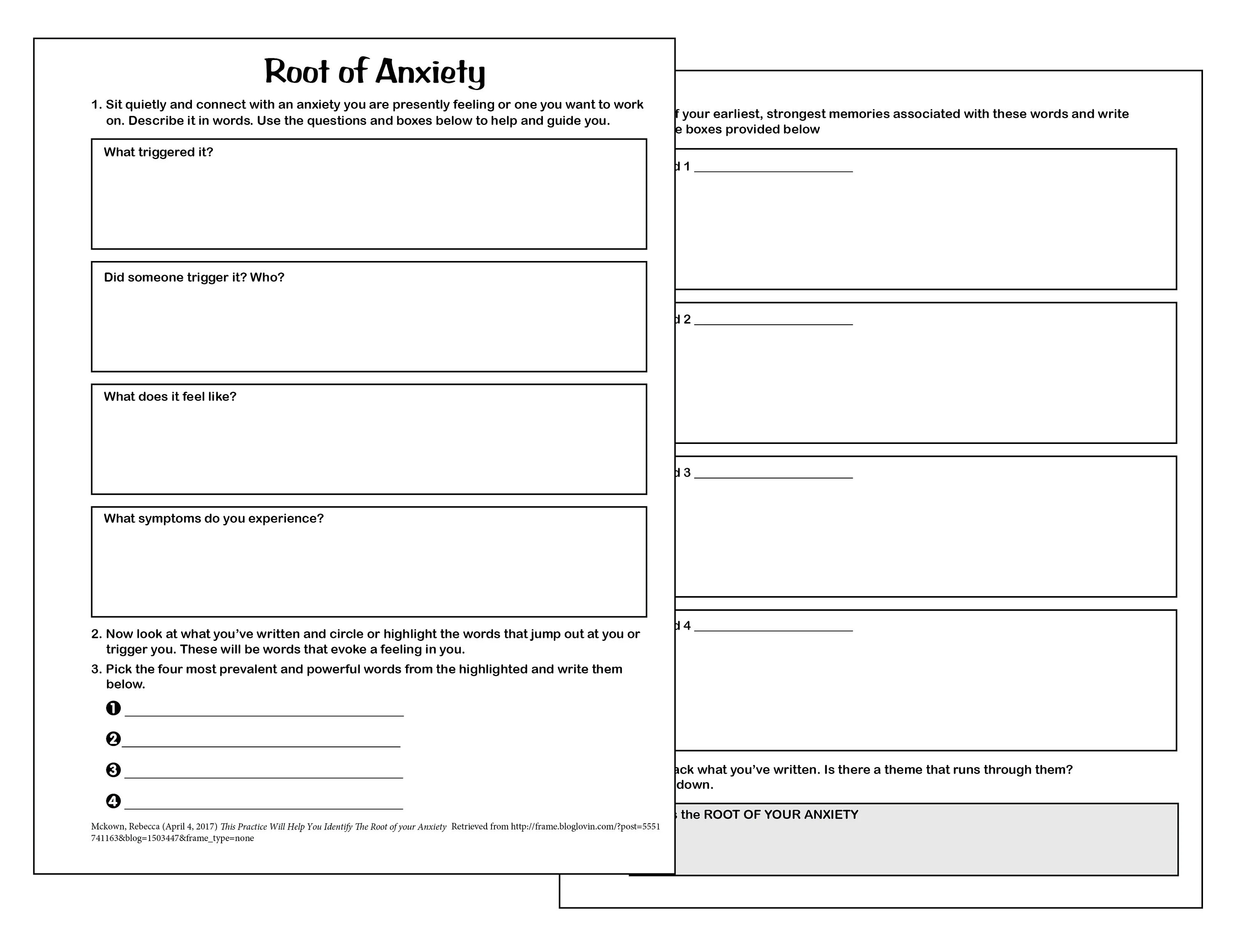 Finding The Root Of Anxiety Printable Worksheet