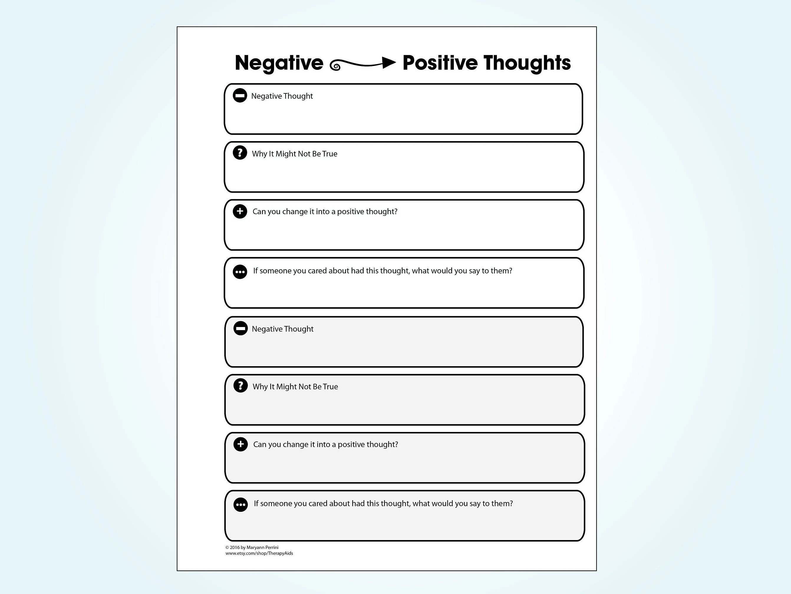 Positive Thinking Worksheets Printable