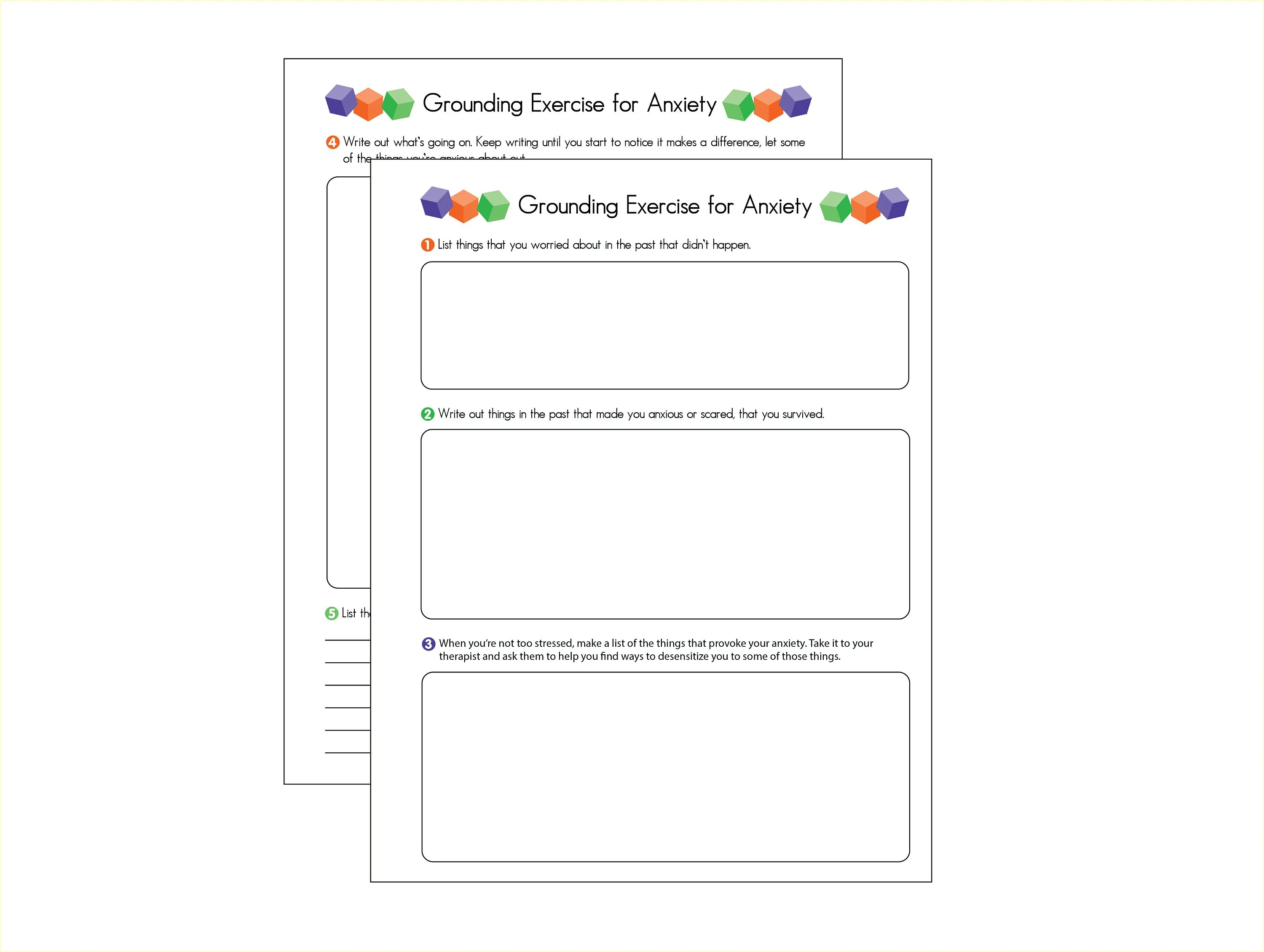 Anxiety Grounding Exercises 2 Page Worksheet Journal