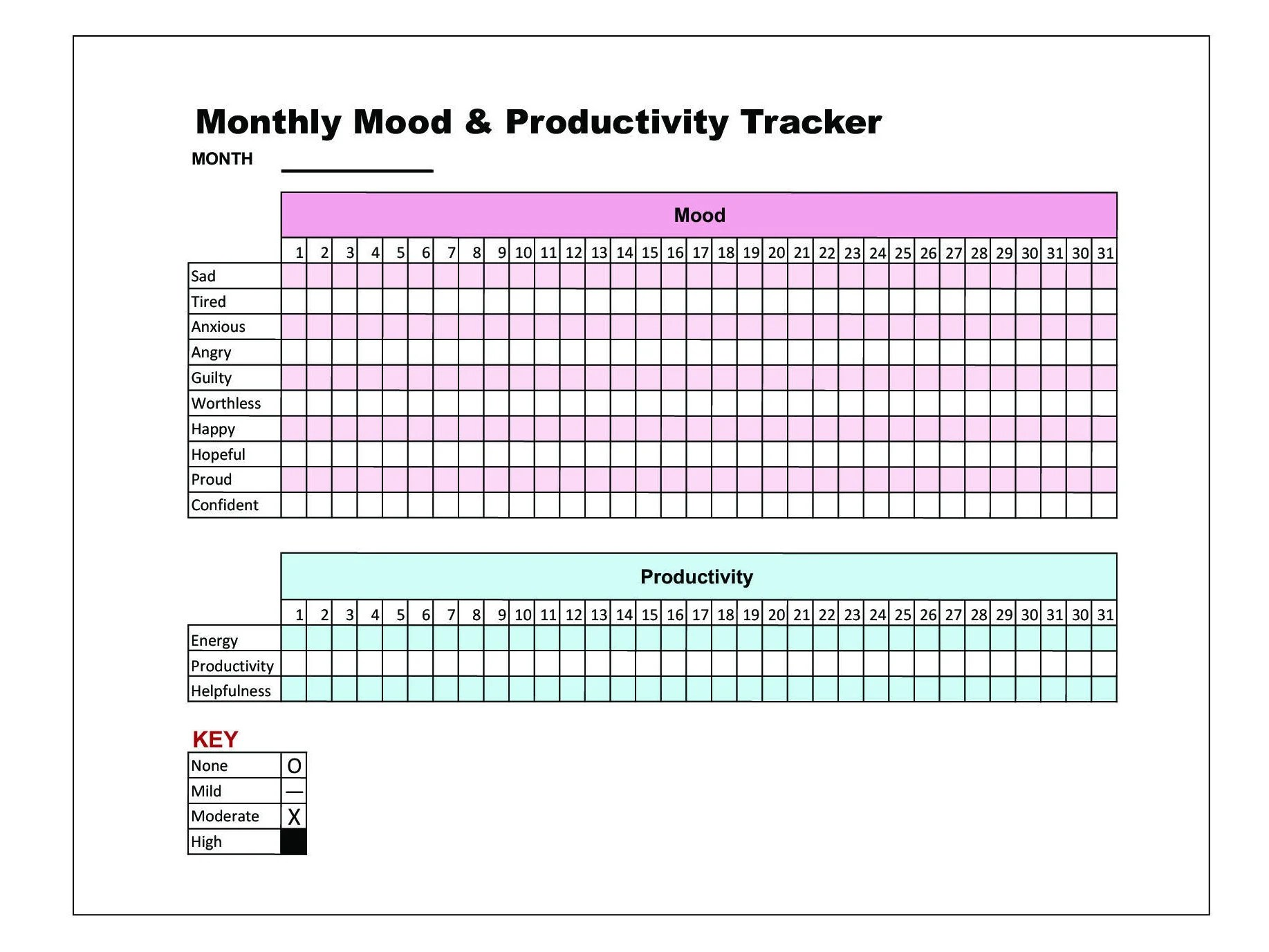 Mood Amp Productivity Tracker Printable Chart Bullet Journal