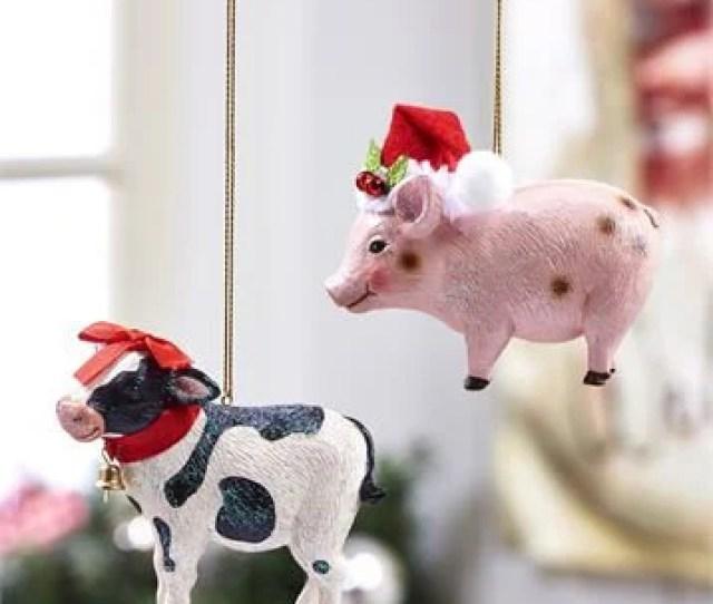 Farm Animal Christmas Ornaments Holiday Gift Christmas Tree Holiday Decor Pig Ornament Cow Ornament Small Gift
