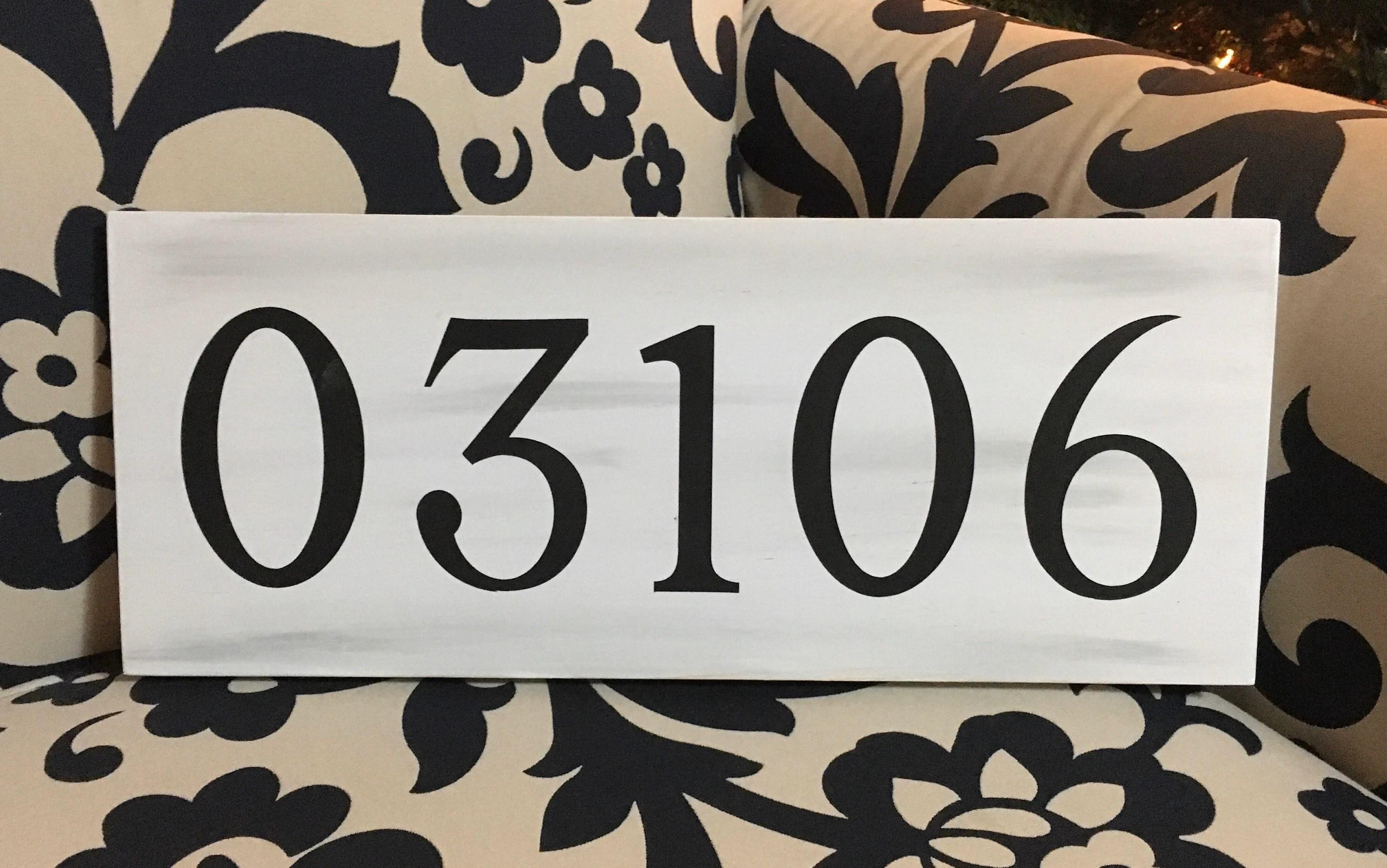 custom zip code wood sign