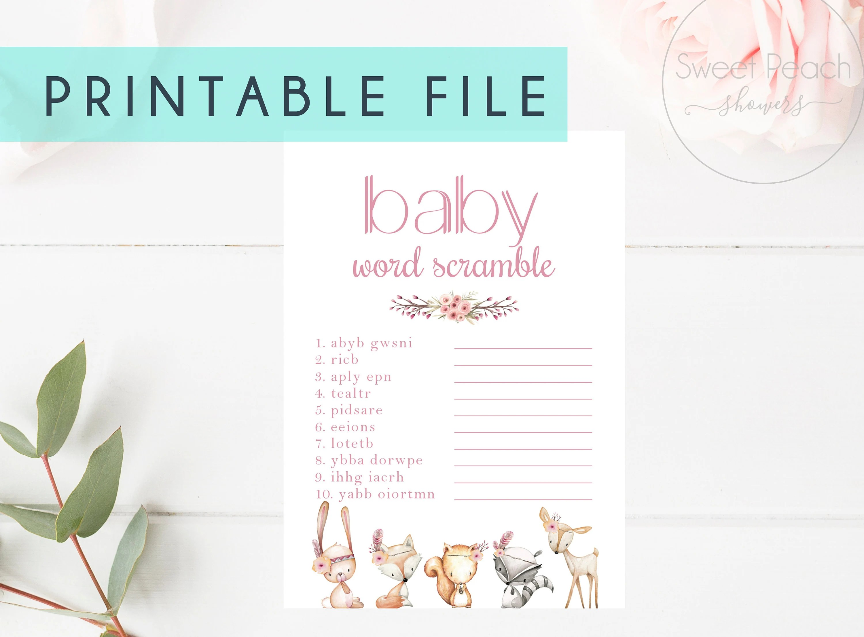 Printable Baby Shower Game Cards Word Scramble Girl