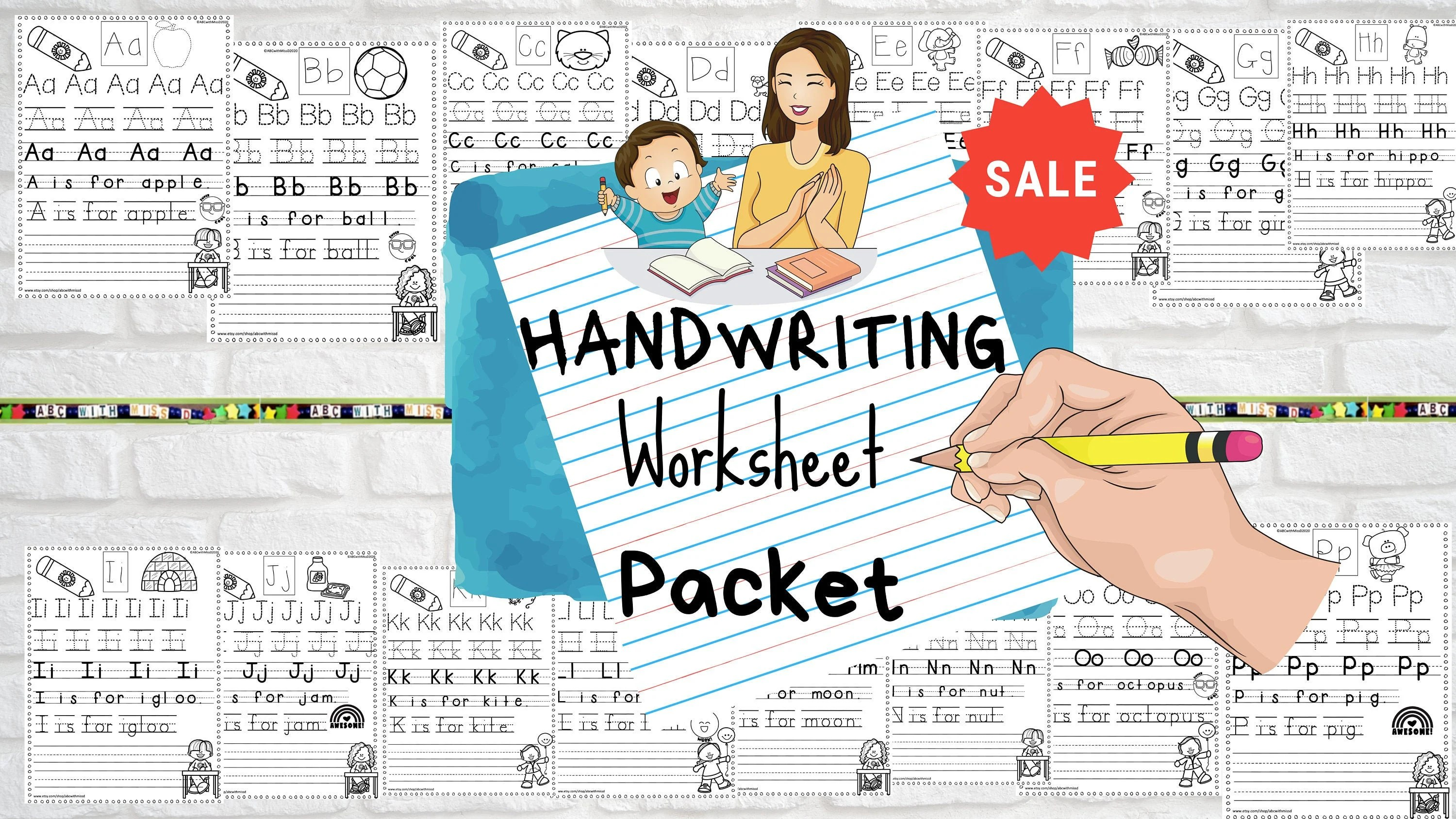 Handwriting Practice Packet Alphabet Worksheets For