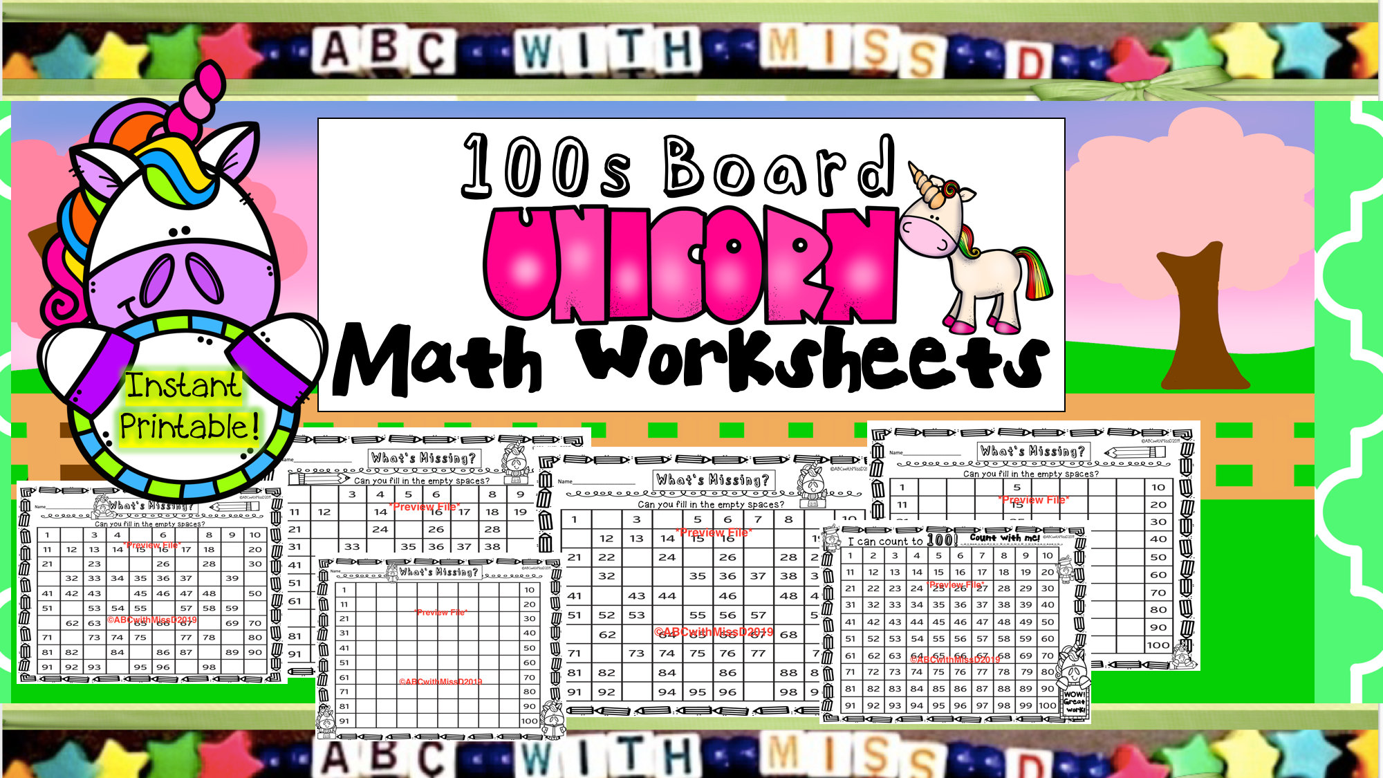 100s Board Math Worksheets Instant Printable Math Packet
