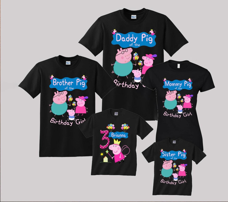 Peppa Pig Birthday Shirt Custom Personalized Shirts For All Etsy
