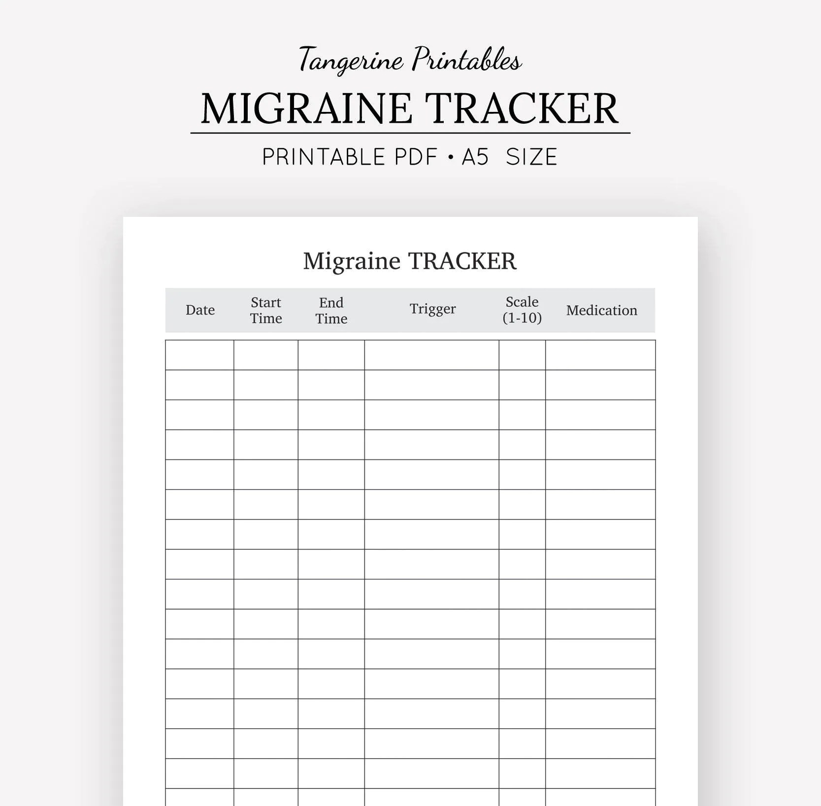 Migraine Tracker Pain Tracker A5 Planner Insert A5