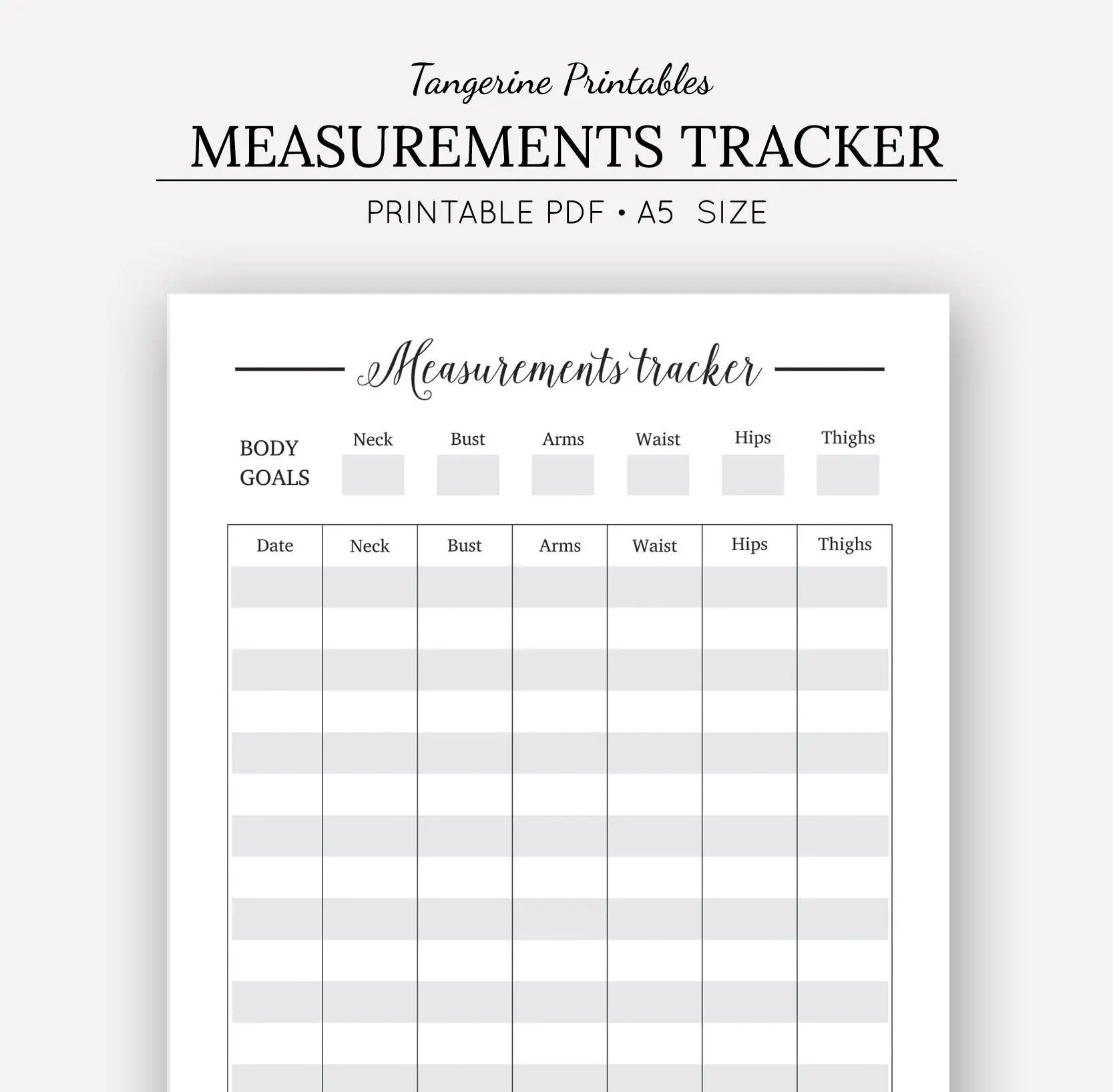 Measurement Tracker Printable Planner A5 Printables Body