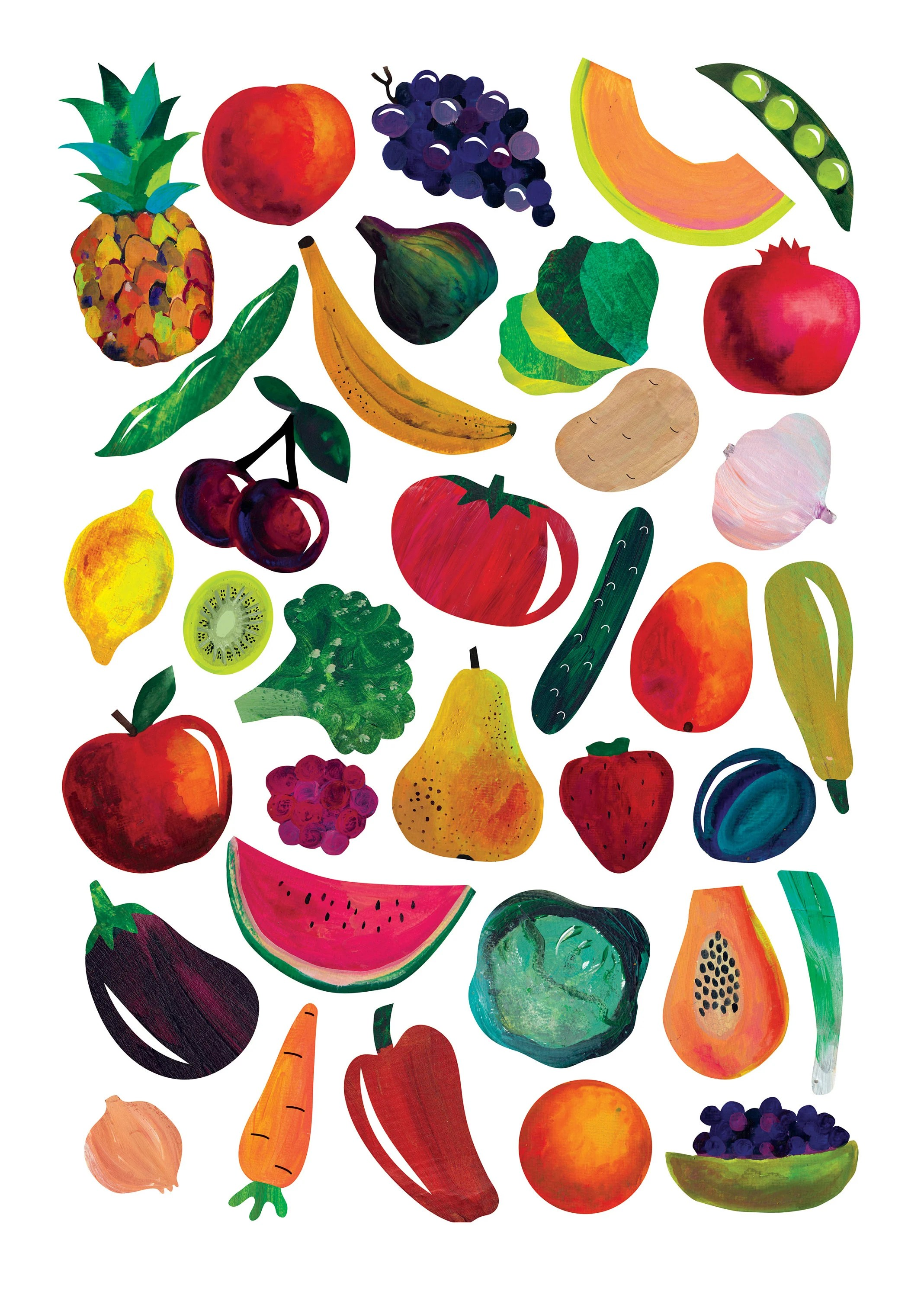 fruits vegetables print instant download printable fruits and veggies poster gouache painting kitchen decoration