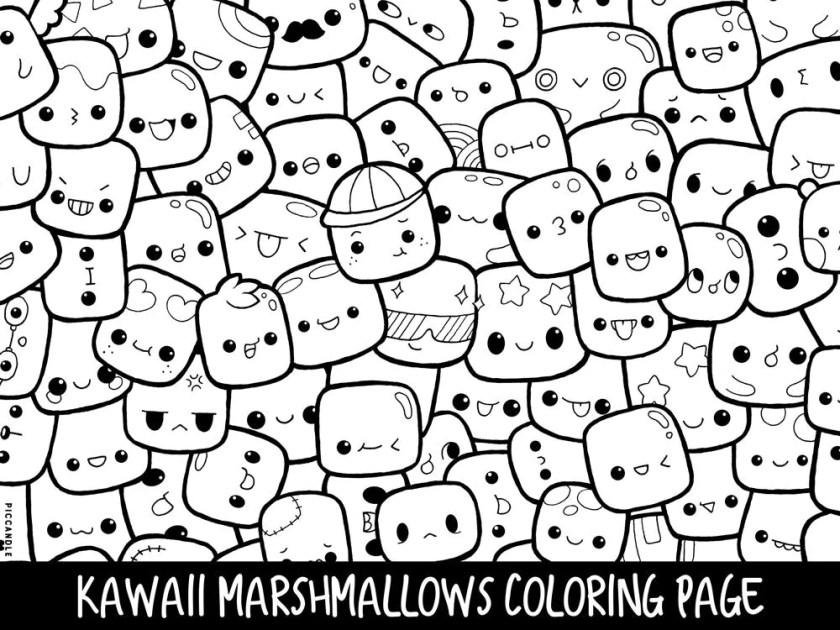 marshmallows doodle coloring page printable cute/kawaii  etsy
