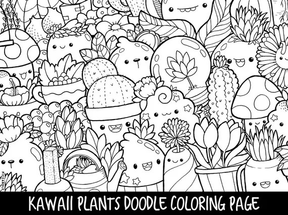 Plants Doodle Coloring Page Printable Cute Kawaii Coloring Etsy