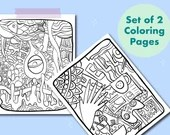 Set of 2 Printable Colouring Pages in hand drawn style, Instant download A4/letter Colouring Pages, Adult Colouring, Stay at home activity