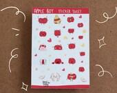 Apple Boy Sticker sheet - Planner stickers - vinyl stickers - Kawaii stickers - Journal stickers - A6 size