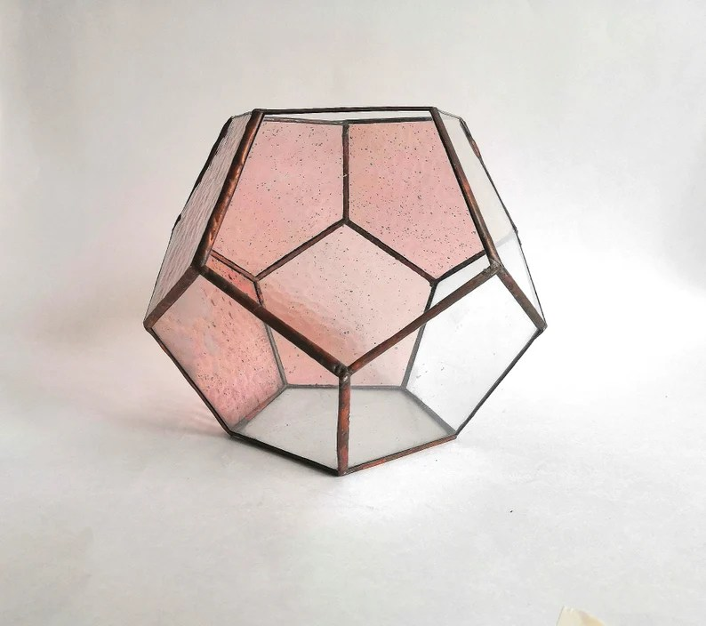 Geometric Dodecahedron Stained Glass Terrarium Modern design image 1