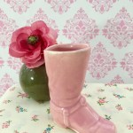 Vintage Pink Ceramic Cowgirl Boot Figurine Cowboy Boot Knick Knack Ceramic Boot Cottage Chic Home Decor Western Home Decor